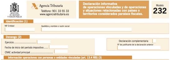 Modelo 232– Declaración informativa de operaciones vinculadas y de operaciones y situaciones relacionadas con países o territorios calificados como paraísos fiscales.